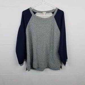 J Crew Gray Sweater Blue Chiffon Sleeve Size L
